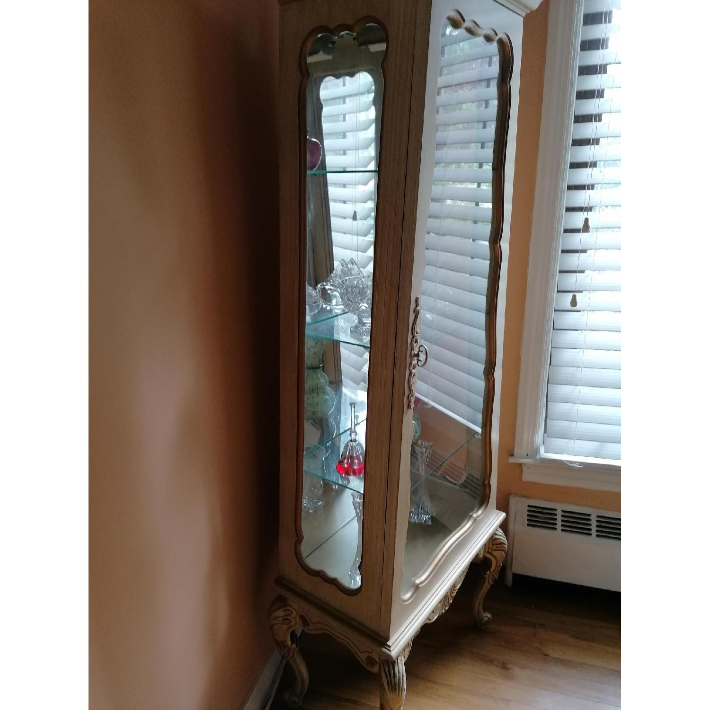 Shabby Chic Corner Vitrine Glass Wood Cabinet Aptdeco