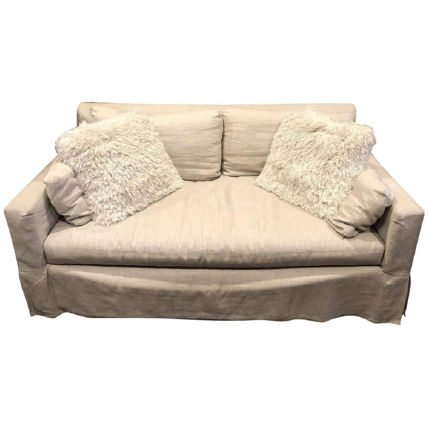 Restoration Hardware Belgian Linen Slipcovered Sofa