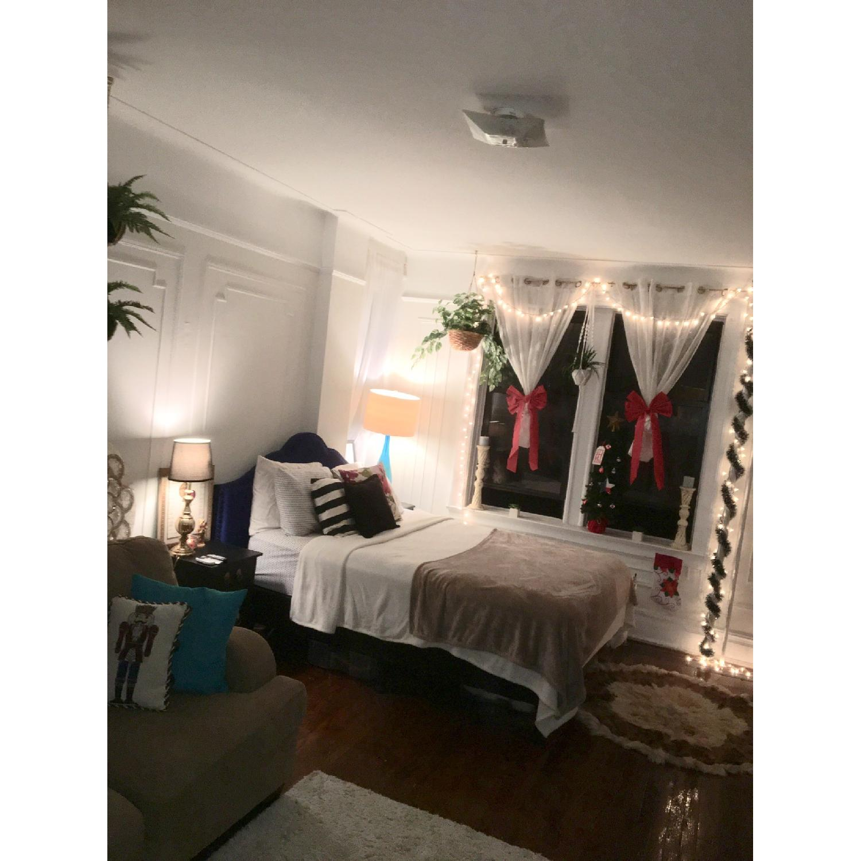 Queen Size Bed w/ Navy Headboard - image-2
