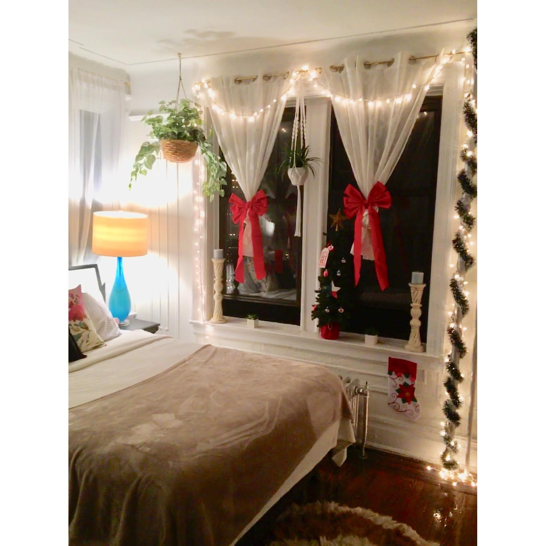 Queen Size Bed w/ Navy Headboard - image-3