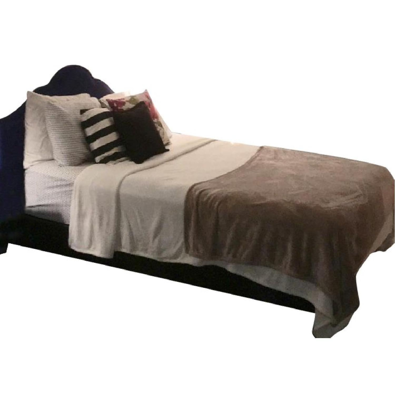 Queen Size Bed w/ Navy Headboard - image-0