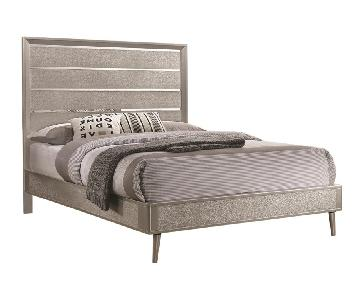Mid Century Style Twin Bed in Metallic Silver Glitter Design