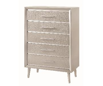 Mid Century Style Chest in Metallic Silver Glitter Design