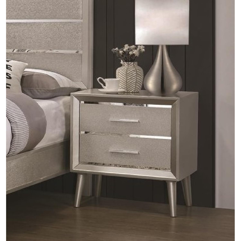 Mid Century Style Nightstand in Metallic Glitter Design - image-1
