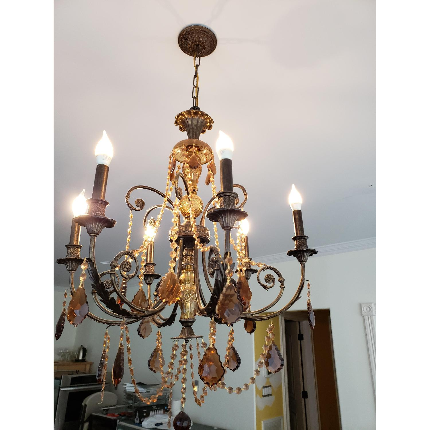 Horchow Amber Crystal Chandelier - image-1