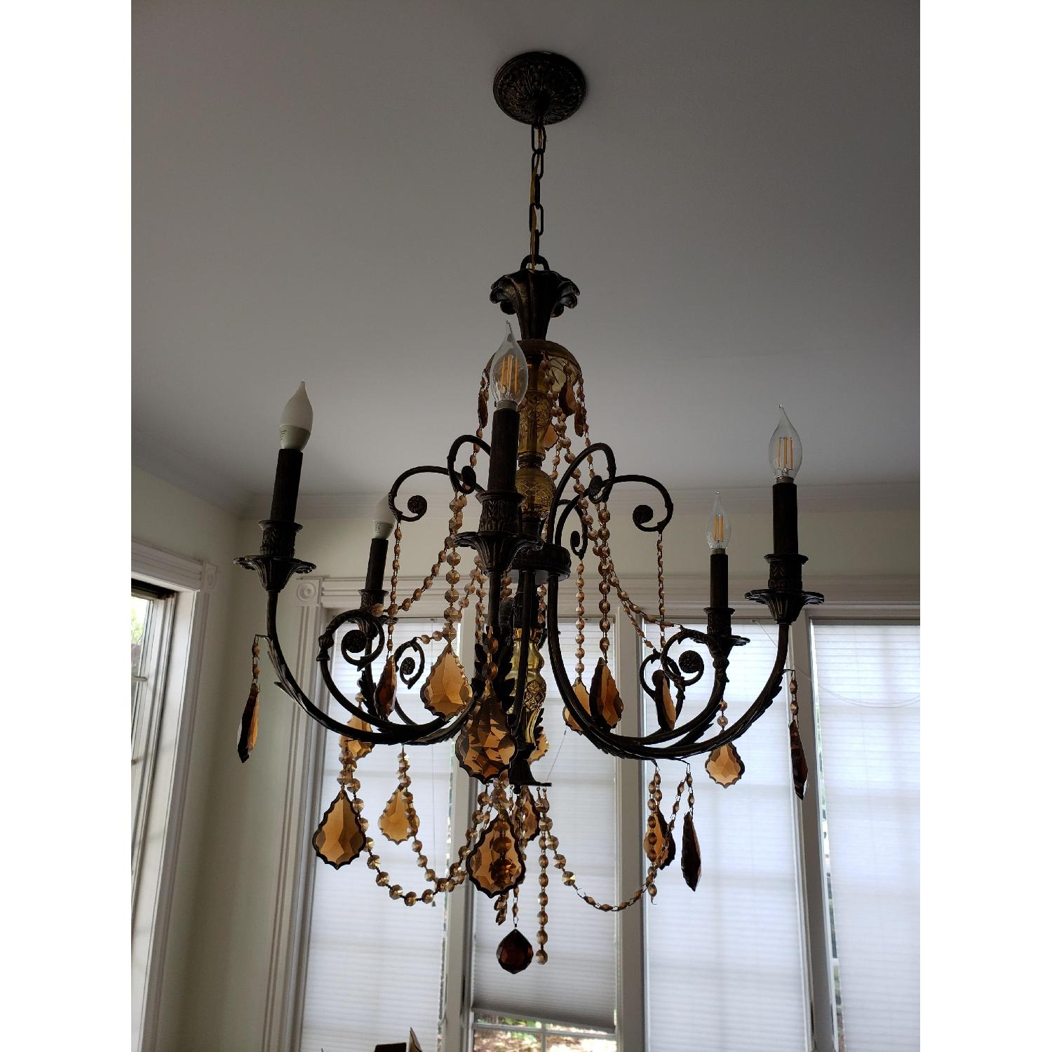 Horchow Amber Crystal Chandelier - image-3