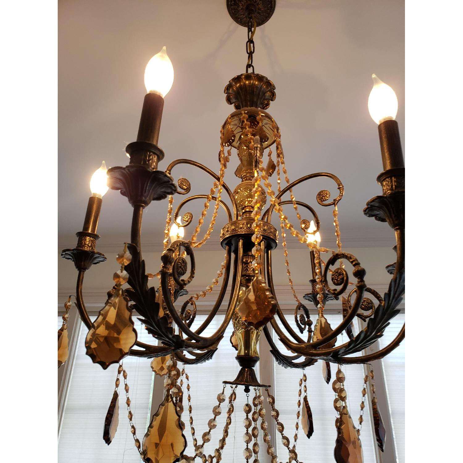 Horchow Amber Crystal Chandelier - image-4