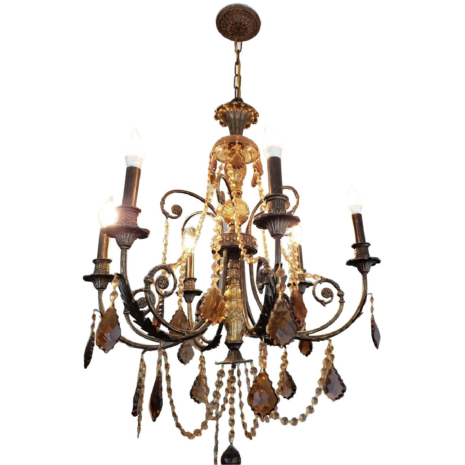 Horchow Amber Crystal Chandelier - image-0