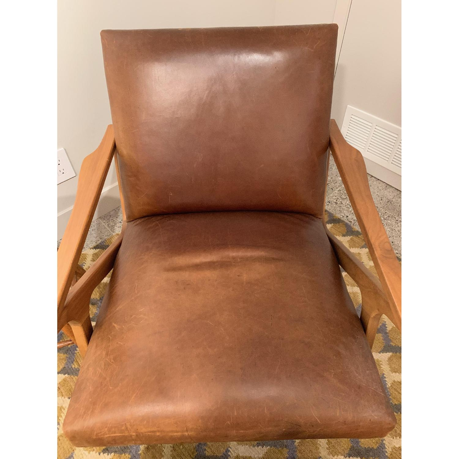 Crate & Barrel Cavett Leather Chair & Ottoman - image-5