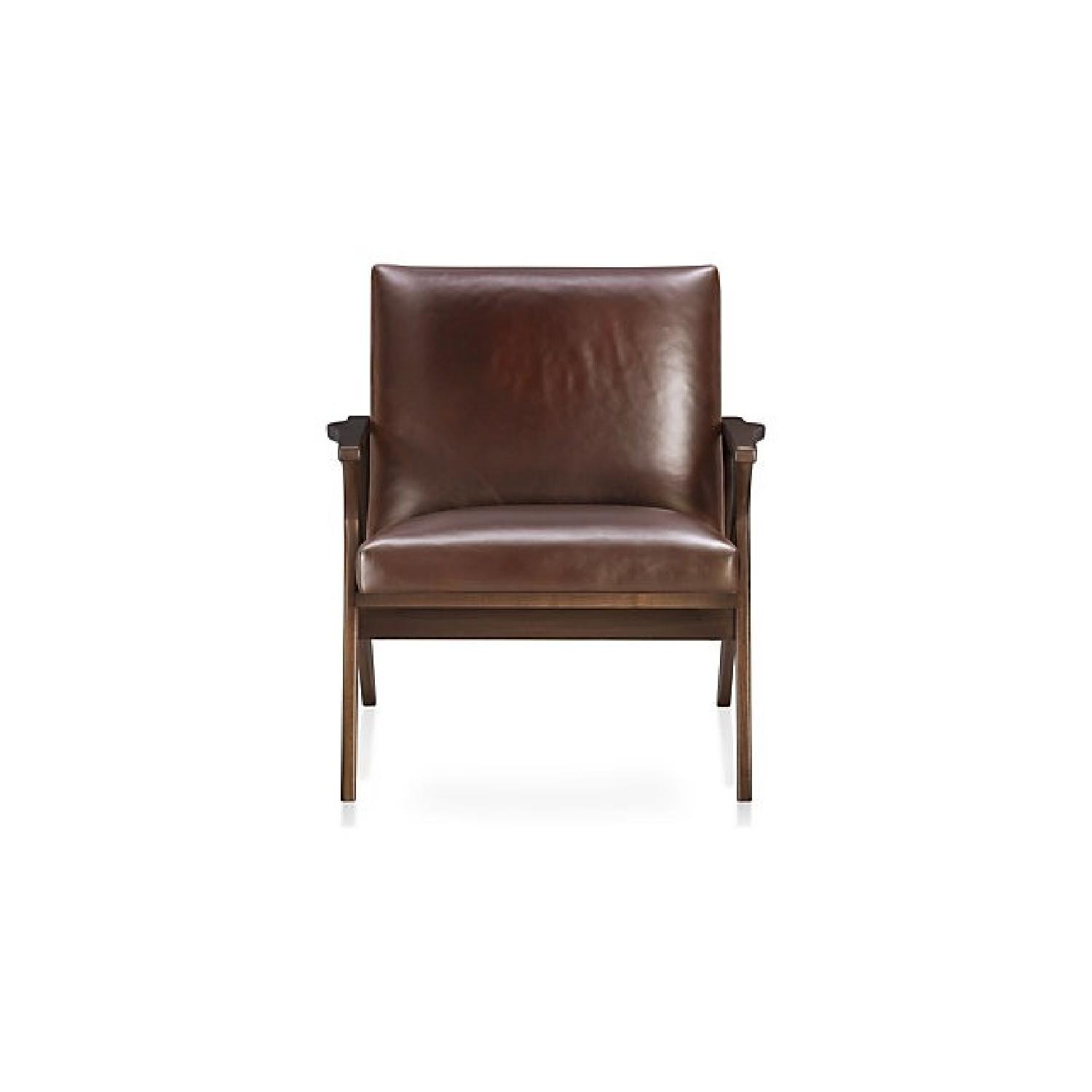 Crate & Barrel Cavett Leather Chair & Ottoman - image-0