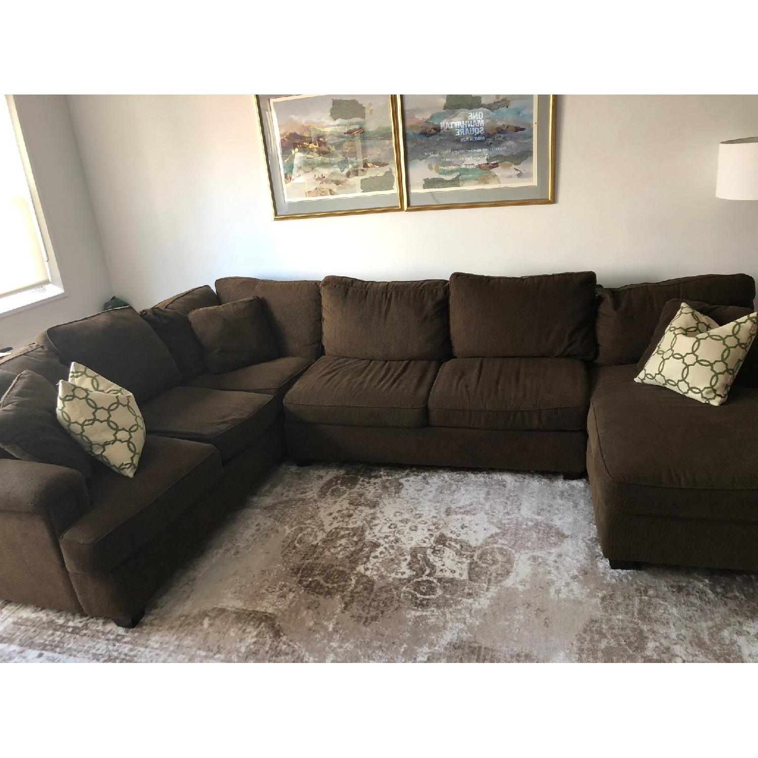 ... Bloomingdaleu0027s Brown 3 Piece Sectional Sofa 0 ...