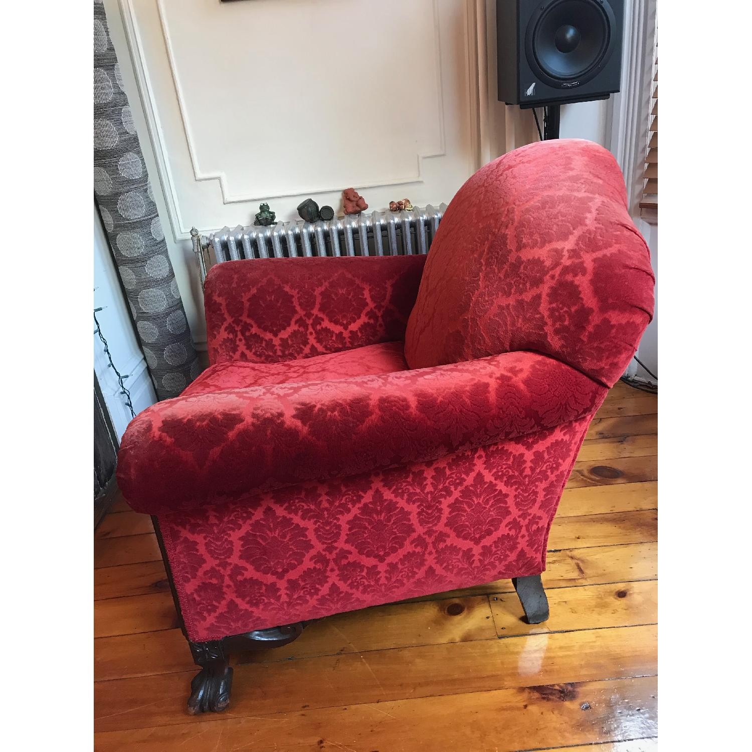 Red Armchair & Ottoman - image-3
