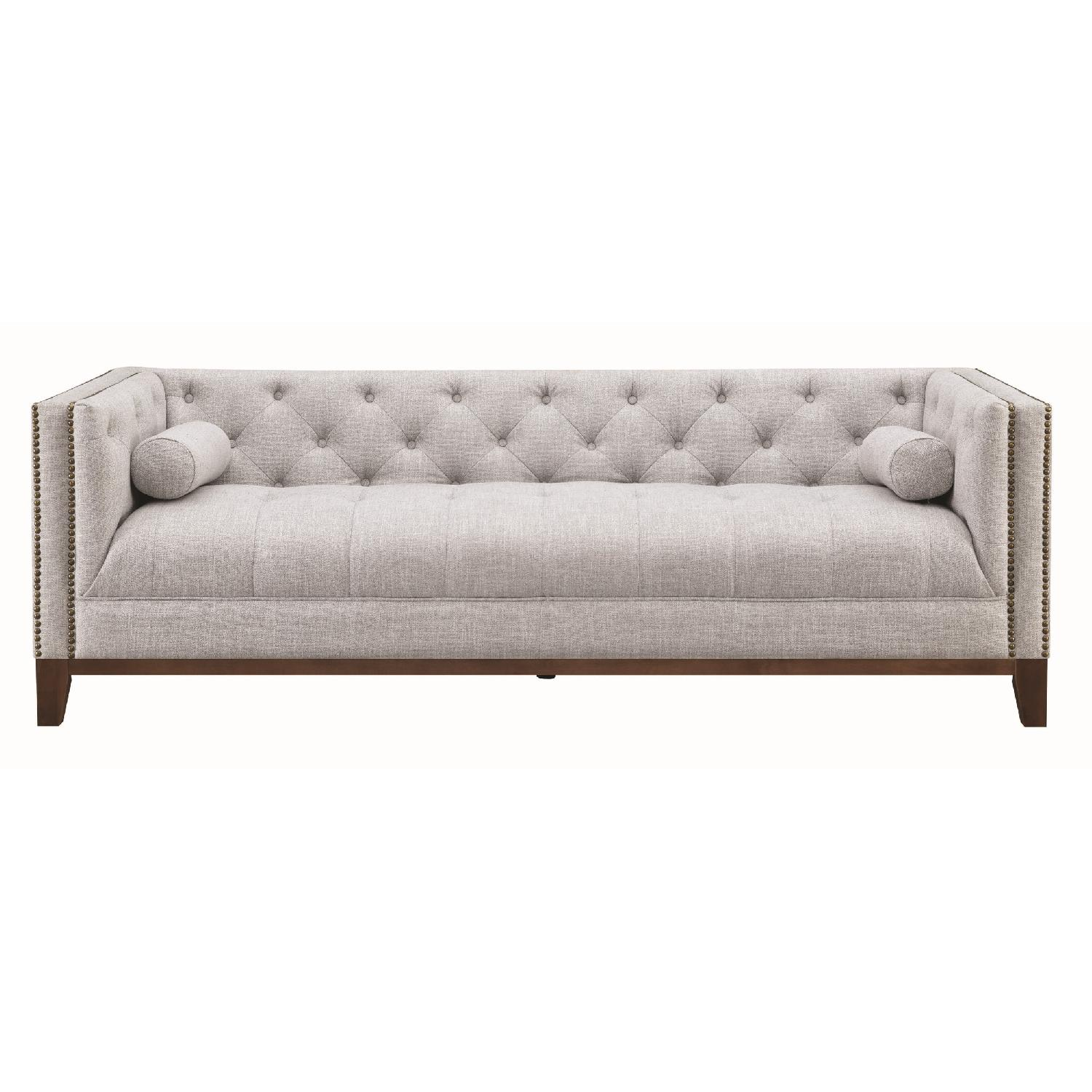 Modern Style Sofa w/ Tufted Buttons & Nailhead Accent - image-1