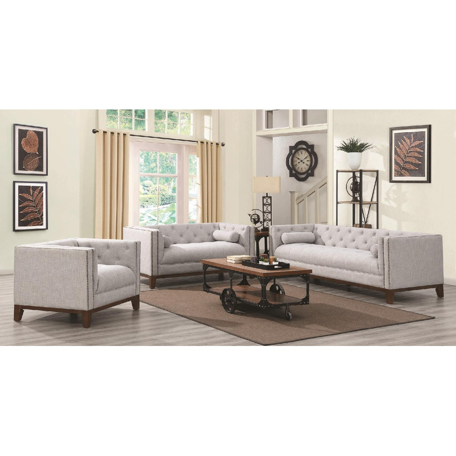 Modern Style Sofa w/ Tufted Buttons & Nailhead Accent - image-2