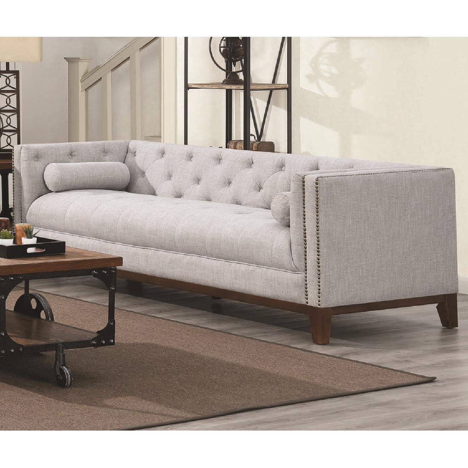 Modern Style Sofa w/ Tufted Buttons & Nailhead Accent - image-3
