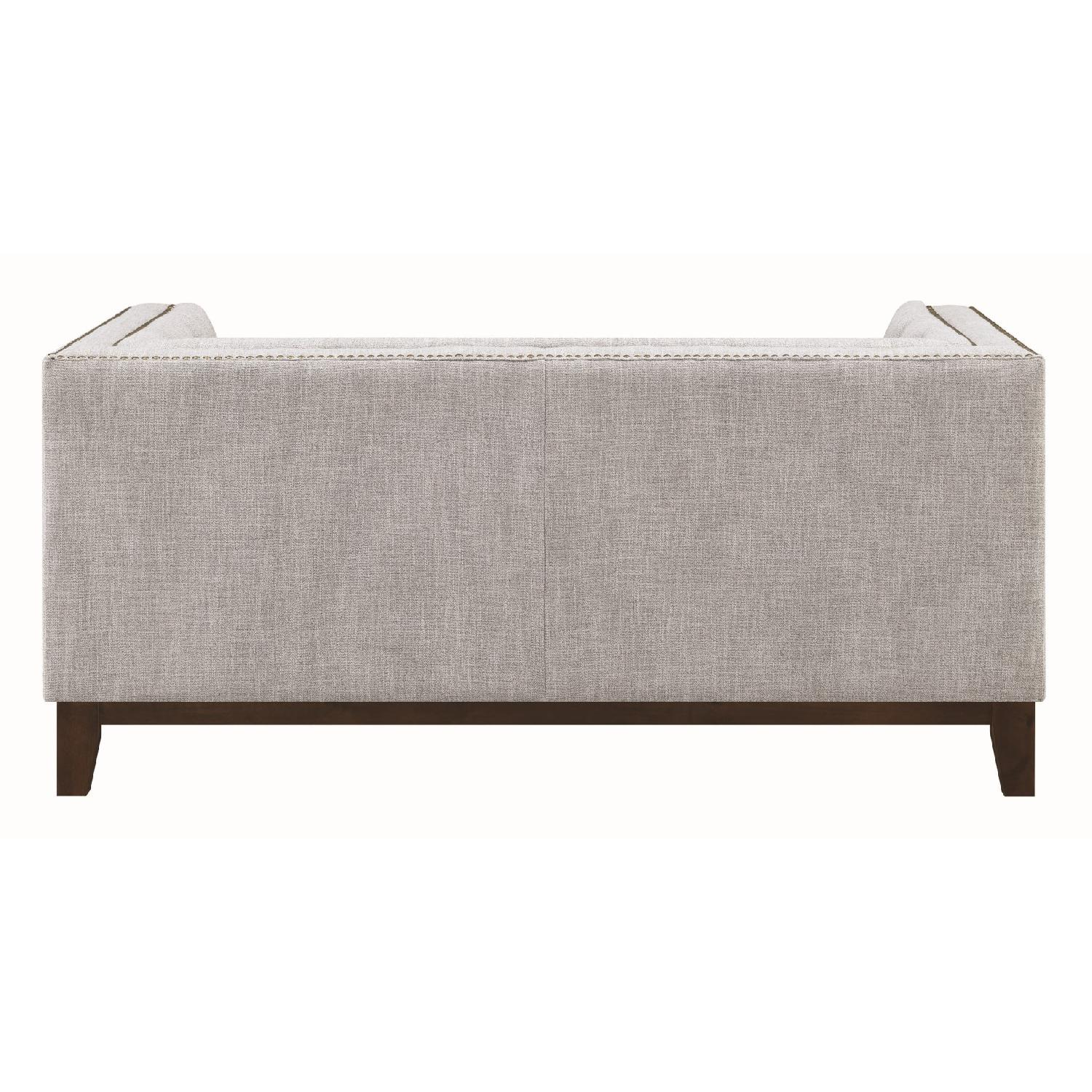 Modern Style Loveseat w/ Tufted Buttons & Nailhead Accent - image-1
