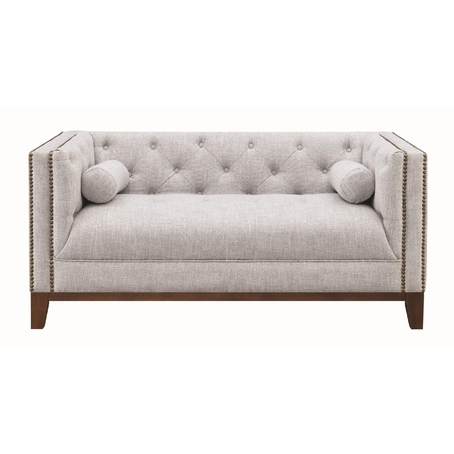 Modern Style Loveseat w/ Tufted Buttons & Nailhead Accent - image-2