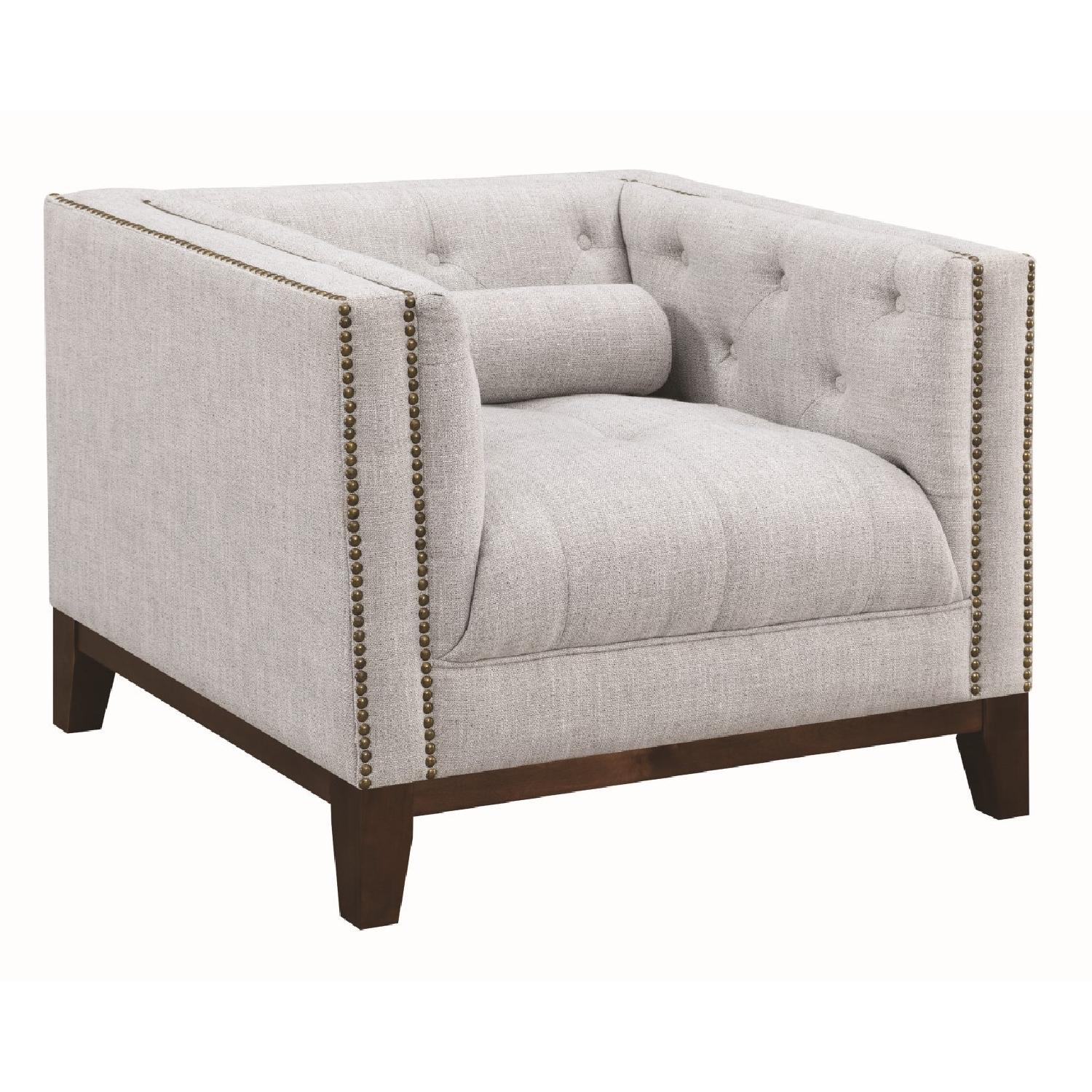 Modern Style Armchair w/ Tufted Buttons & Nailhead Accent - image-0