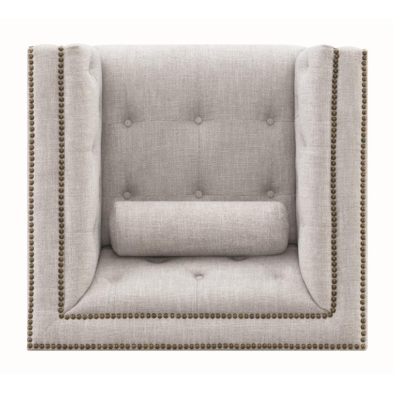 Modern Style Armchair w/ Tufted Buttons & Nailhead Accent - image-3