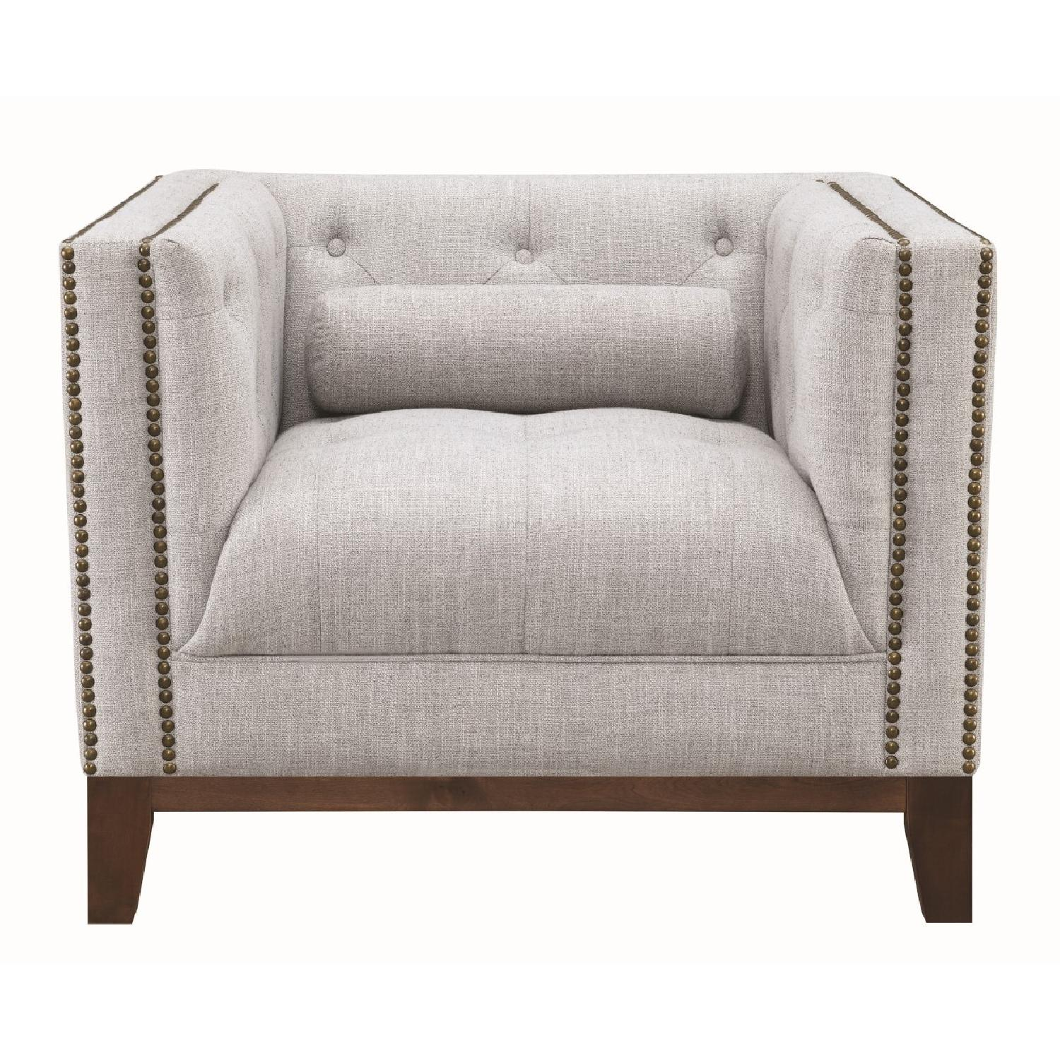 Modern Style Armchair w/ Tufted Buttons & Nailhead Accent - image-5