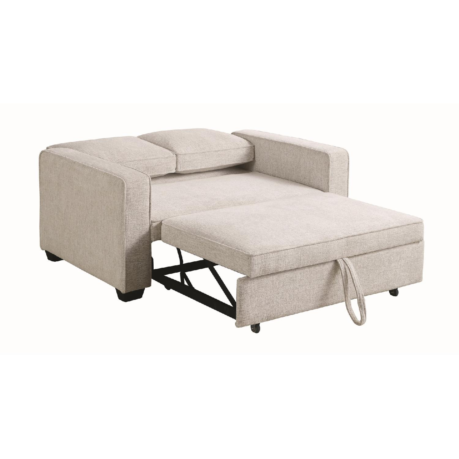Compact Sofabed in Beige Chenille Fabric w/ Pull-Out Sleeper - image-1