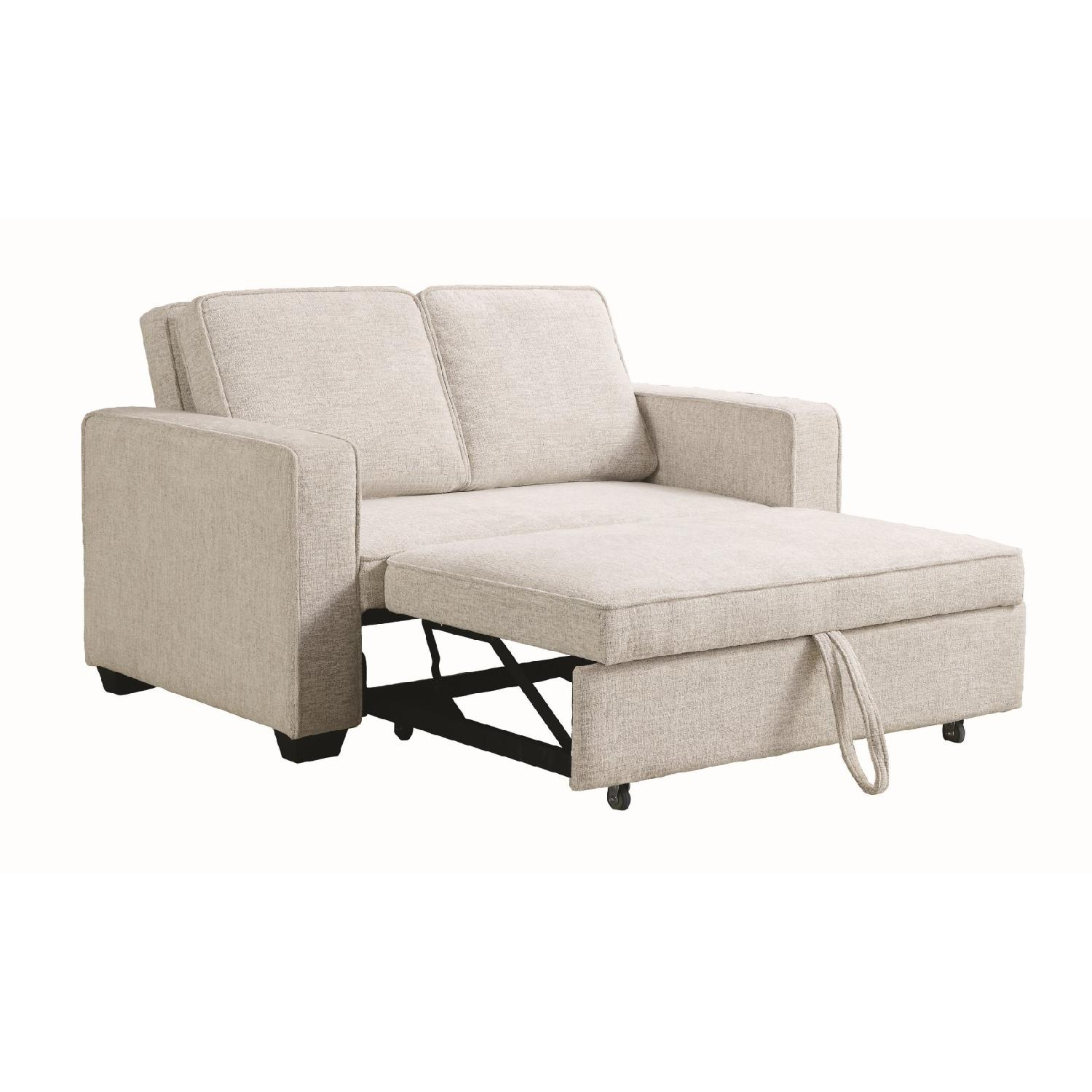 Compact Sofabed in Beige Chenille Fabric w/ Pull-Out Sleeper - image-2