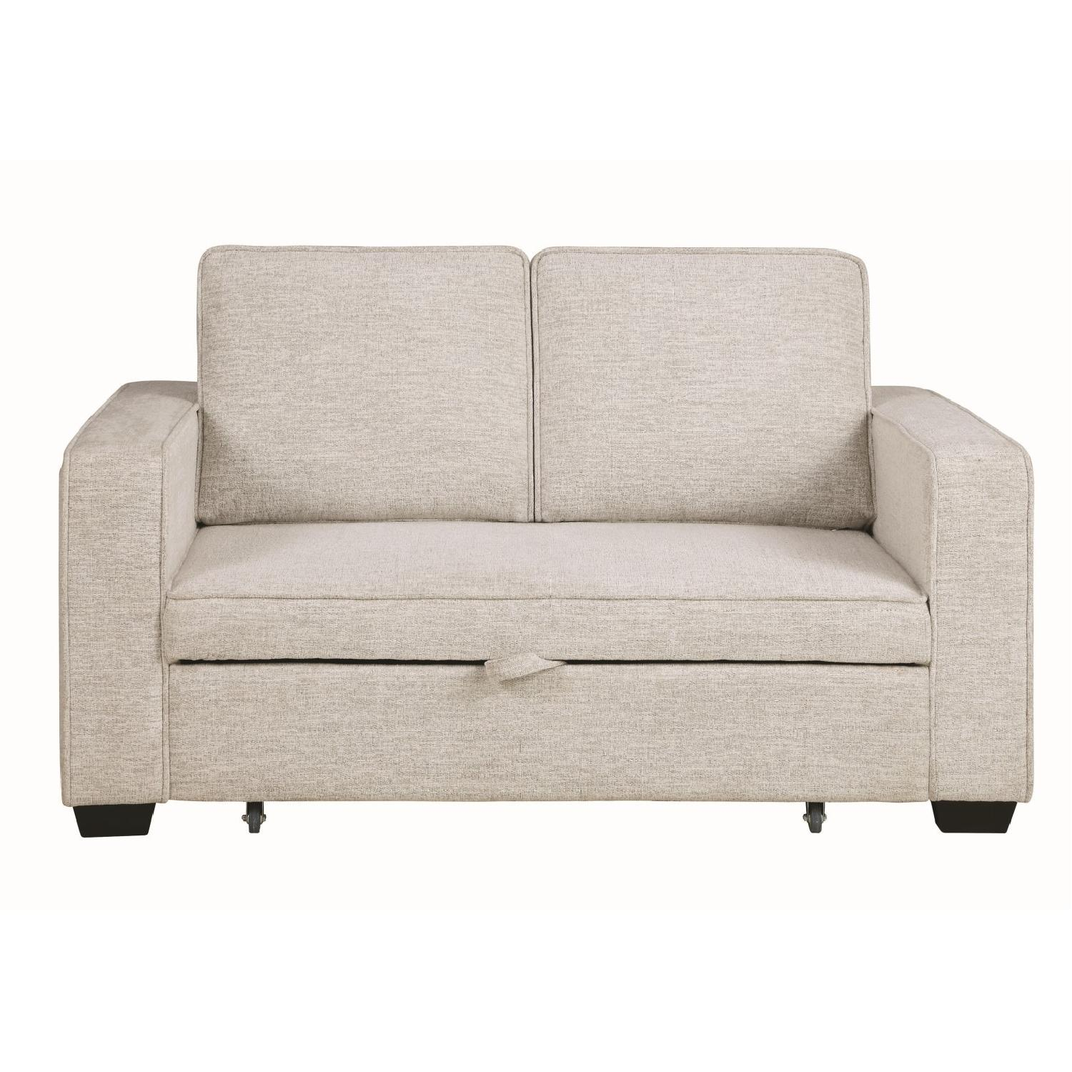Compact Sofabed in Beige Chenille Fabric w/ Pull-Out Sleeper - image-0