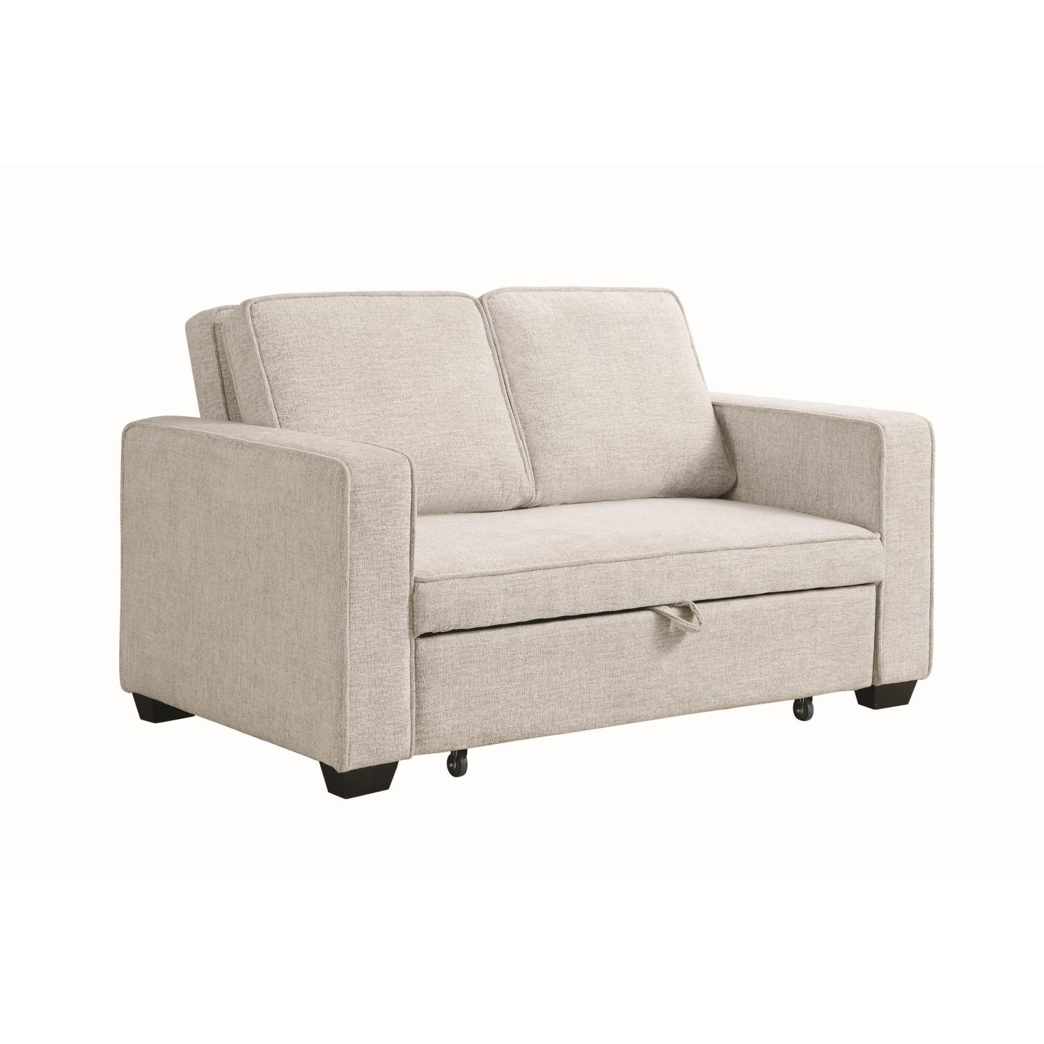 Compact Sofabed in Beige Chenille Fabric w/ Pull-Out Sleeper - image-3