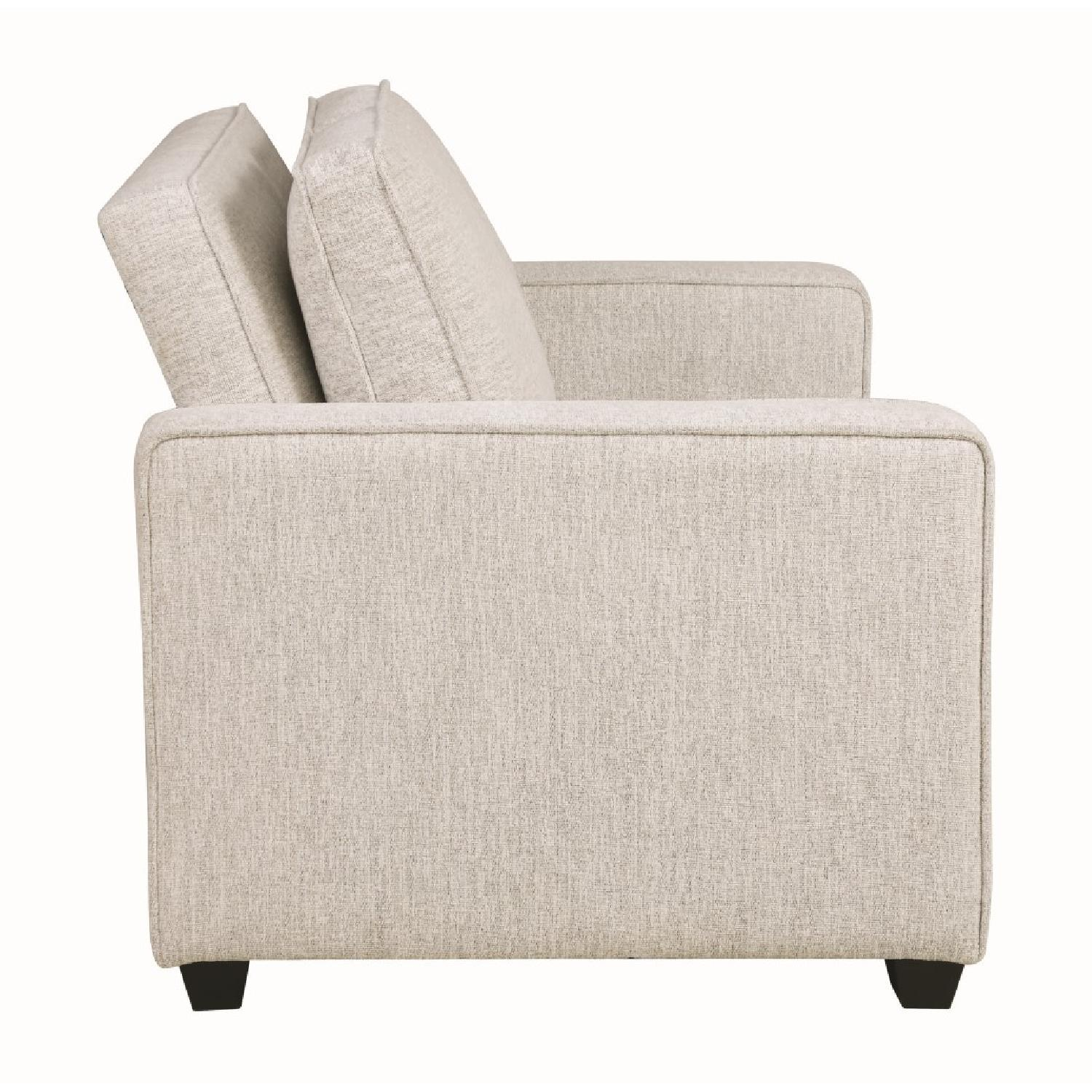 Compact Sofabed in Beige Chenille Fabric w/ Pull-Out Sleeper - image-4