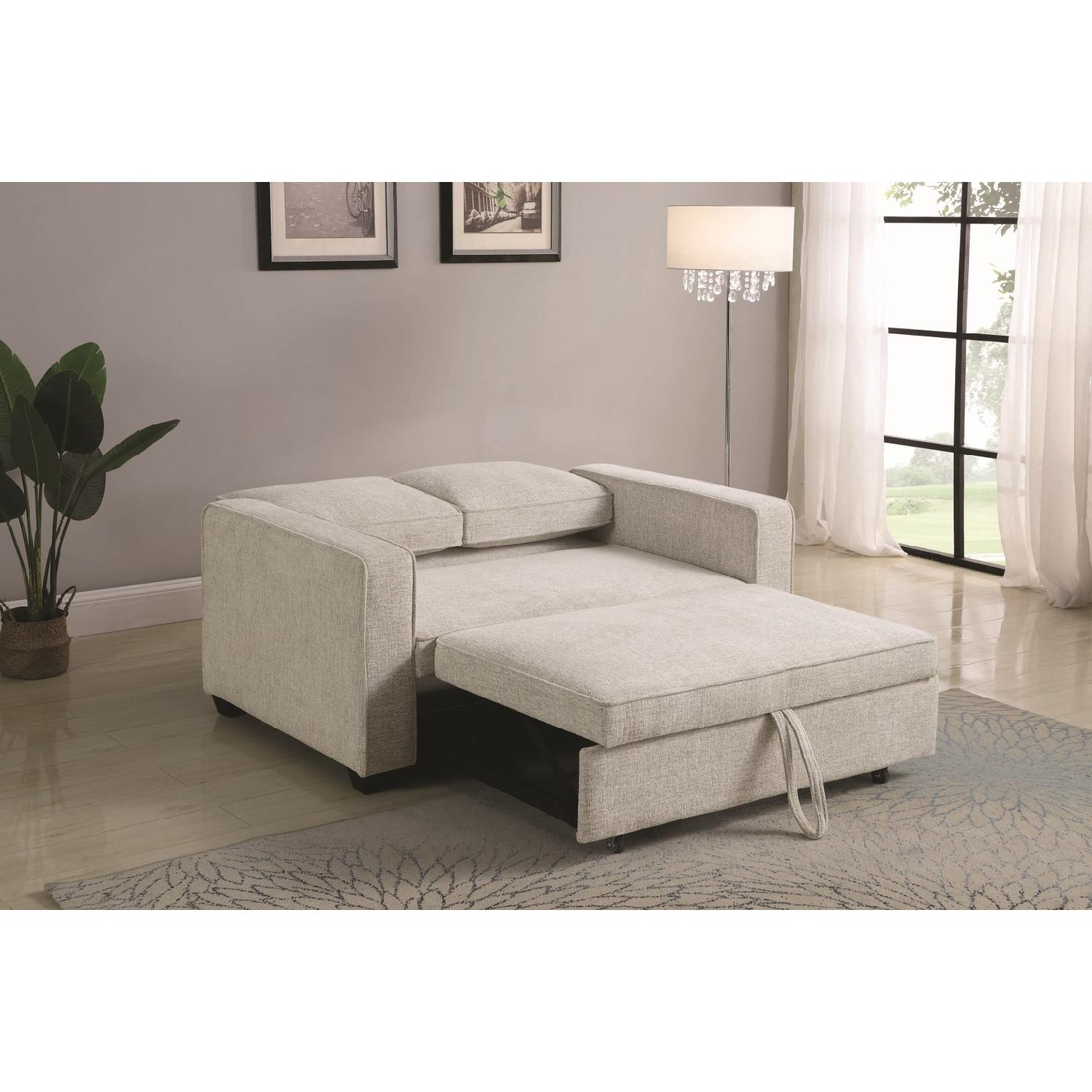Compact Sofabed in Beige Chenille Fabric w/ Pull-Out Sleeper - image-5