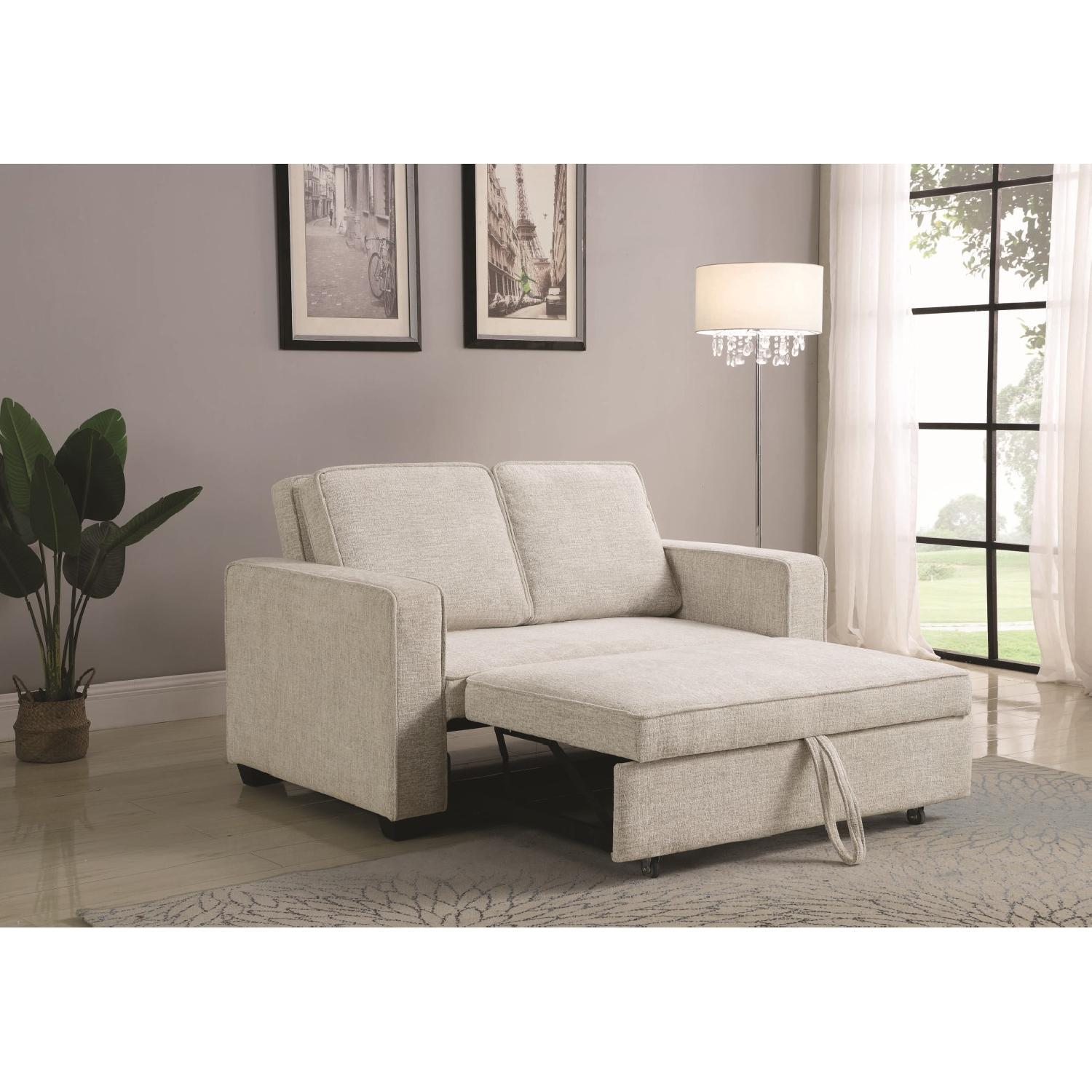 Compact Sofabed in Beige Chenille Fabric w/ Pull-Out Sleeper - image-6
