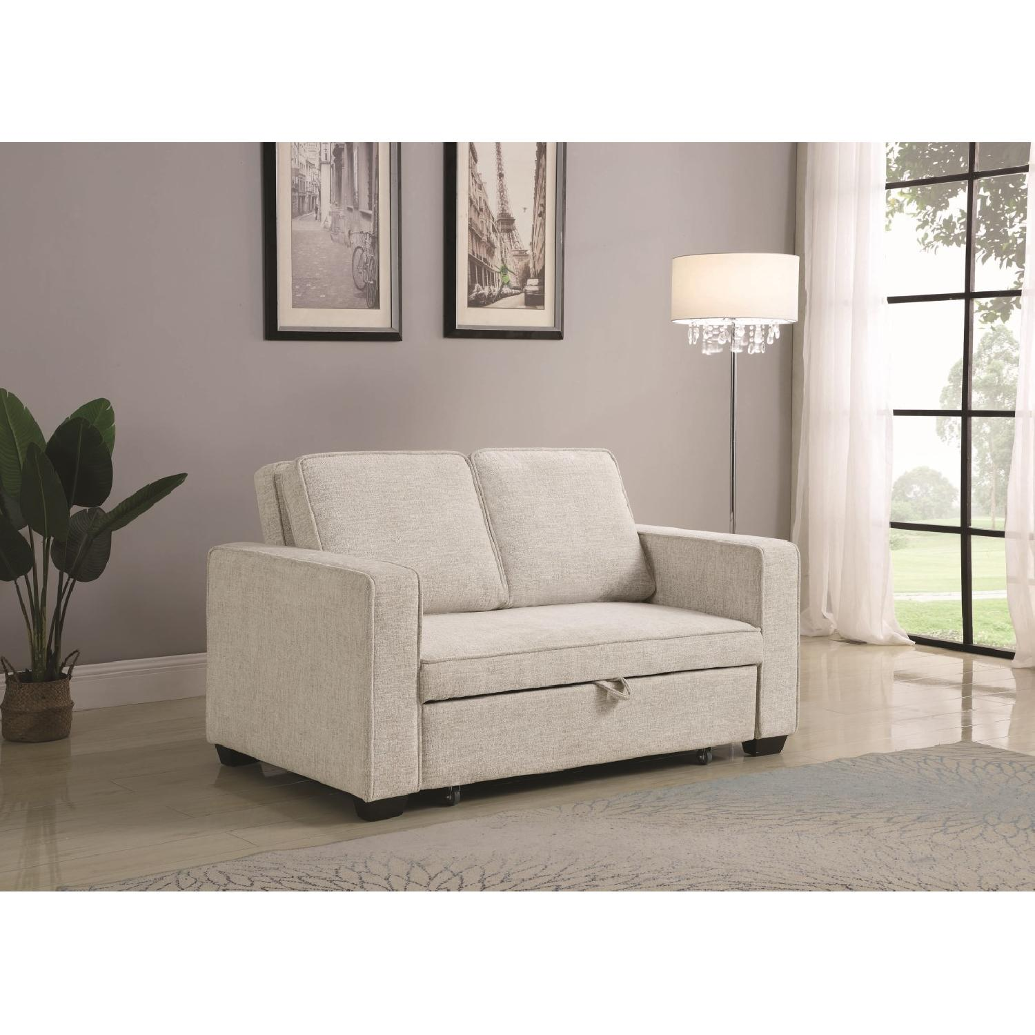 Compact Sofabed in Beige Chenille Fabric w/ Pull-Out Sleeper - image-7
