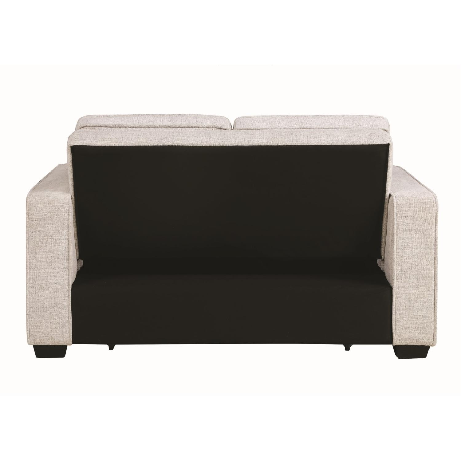 Compact Sofabed in Beige Chenille Fabric w/ Pull-Out Sleeper - image-8