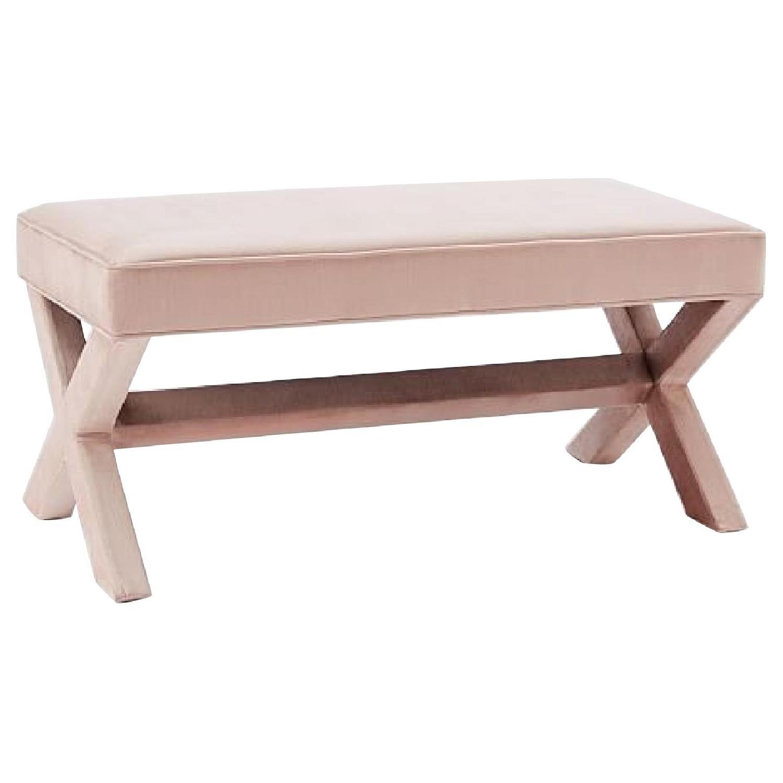 West Elm Cross Base Pink Upholstered Bench