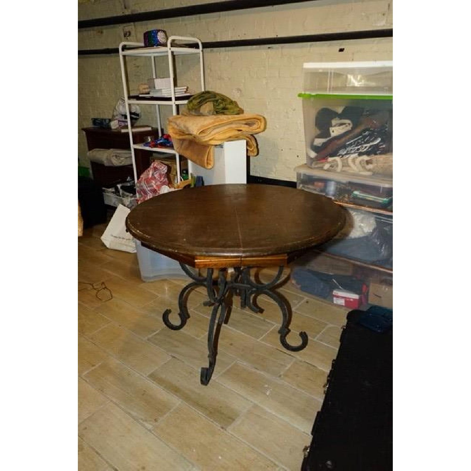 Vintage Extendable Dining Table w/ Wrought Iron Base - image-1