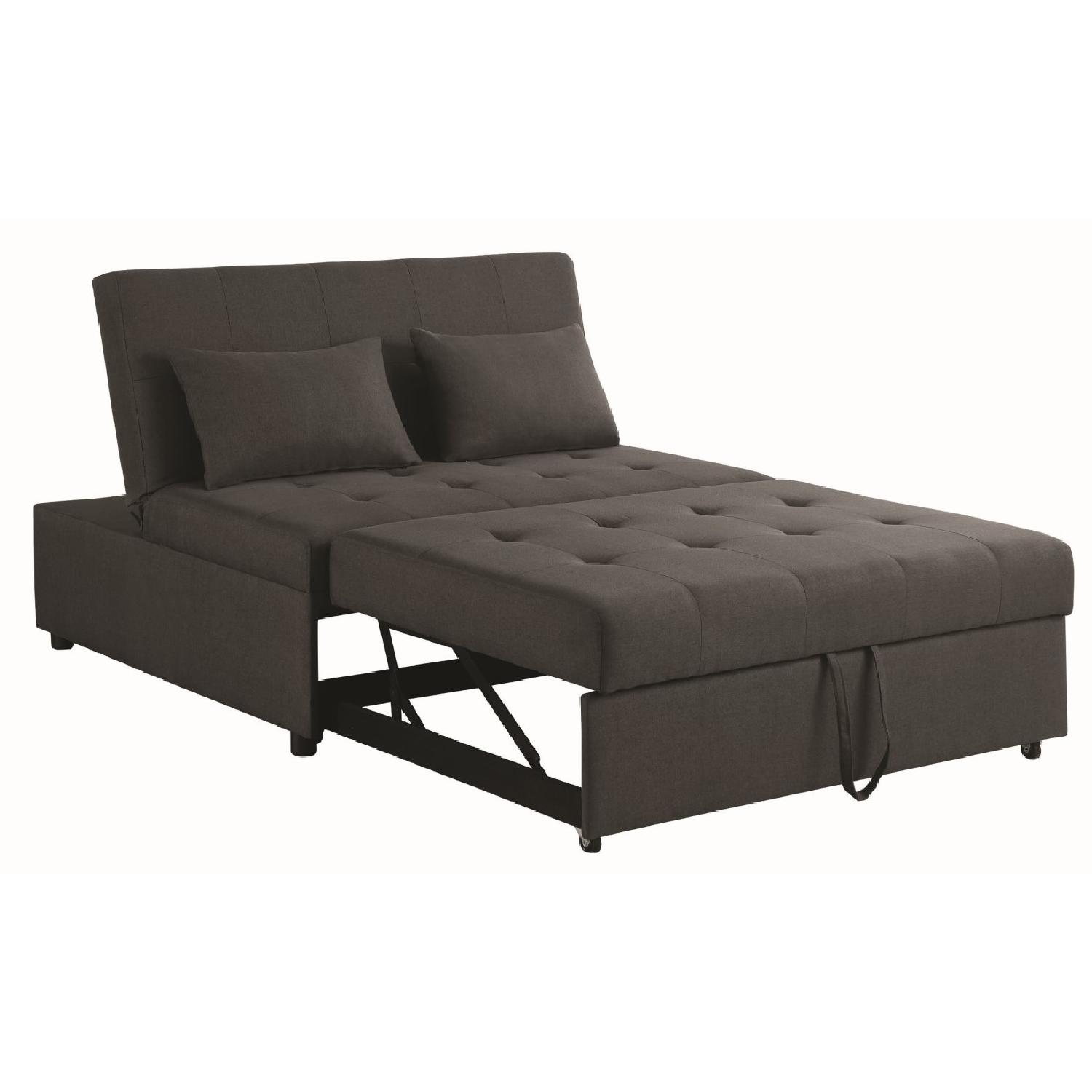 Sofabed in Grey Linen-Like Fabric w/ Pull-Out Sleeper - image-1