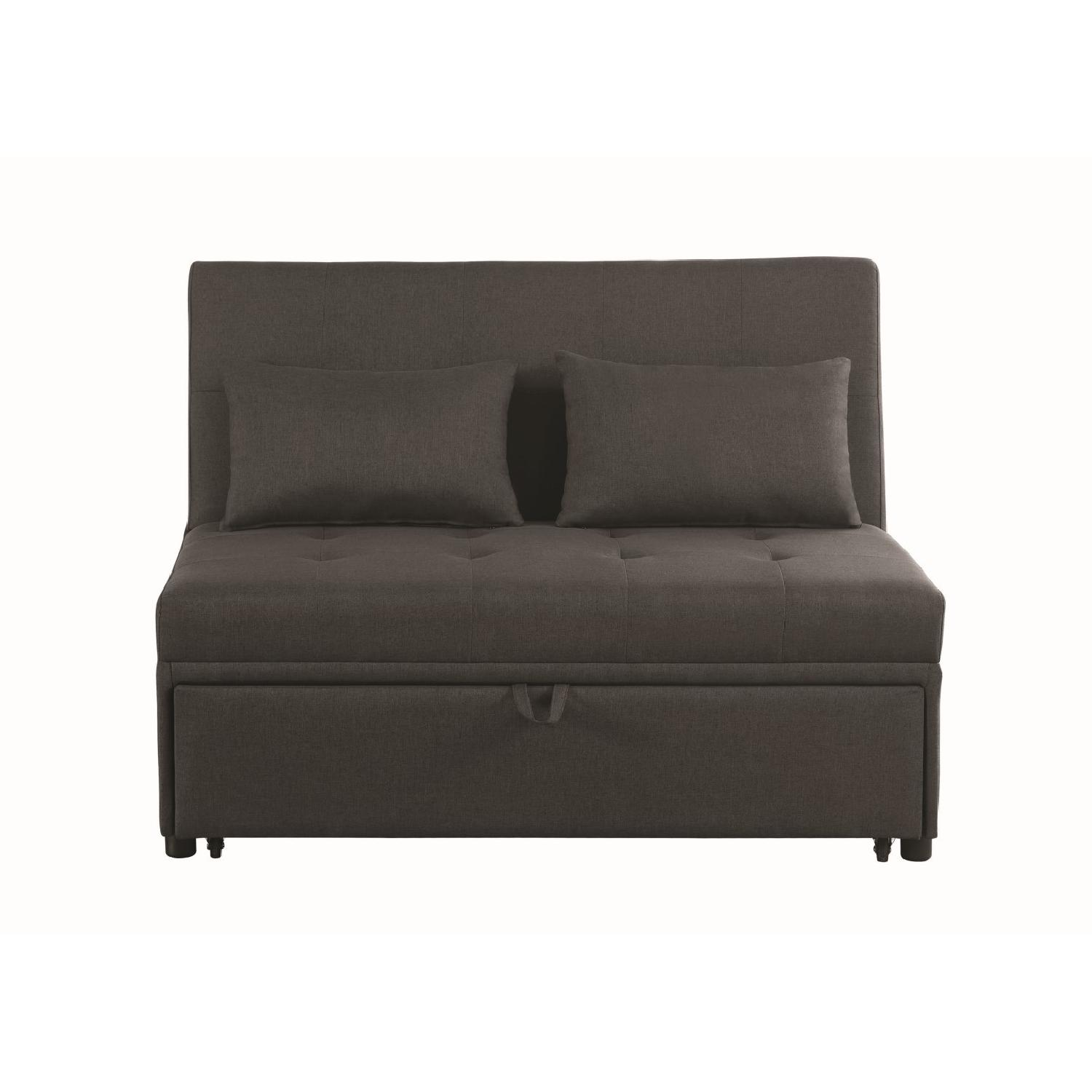 Sofabed in Grey Linen-Like Fabric w/ Pull-Out Sleeper - image-4