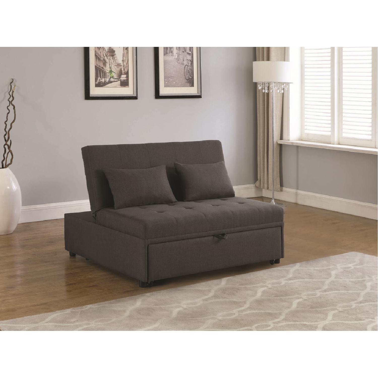 Sofabed in Grey Linen-Like Fabric w/ Pull-Out Sleeper - image-6