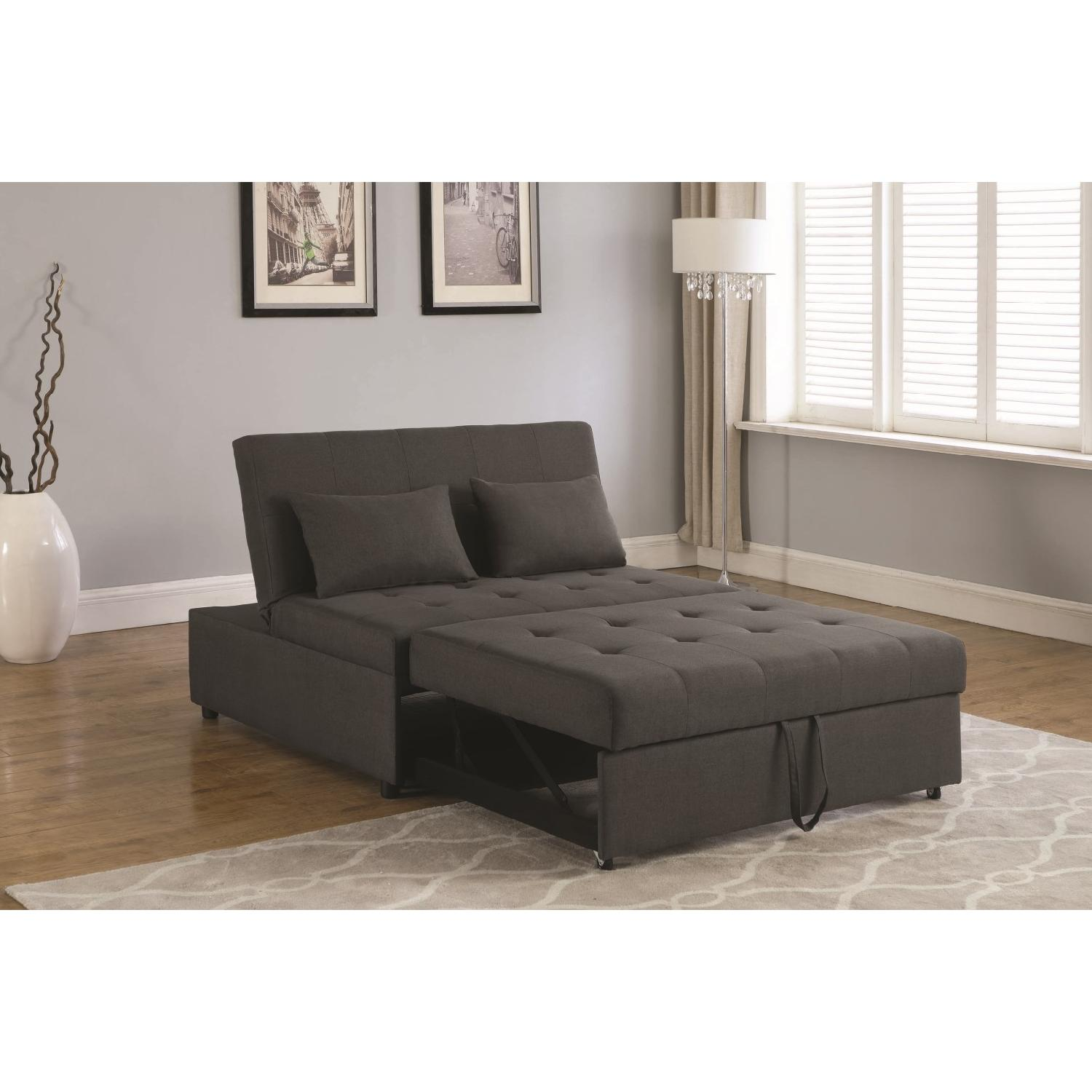 Sofabed in Grey Linen-Like Fabric w/ Pull-Out Sleeper - image-7