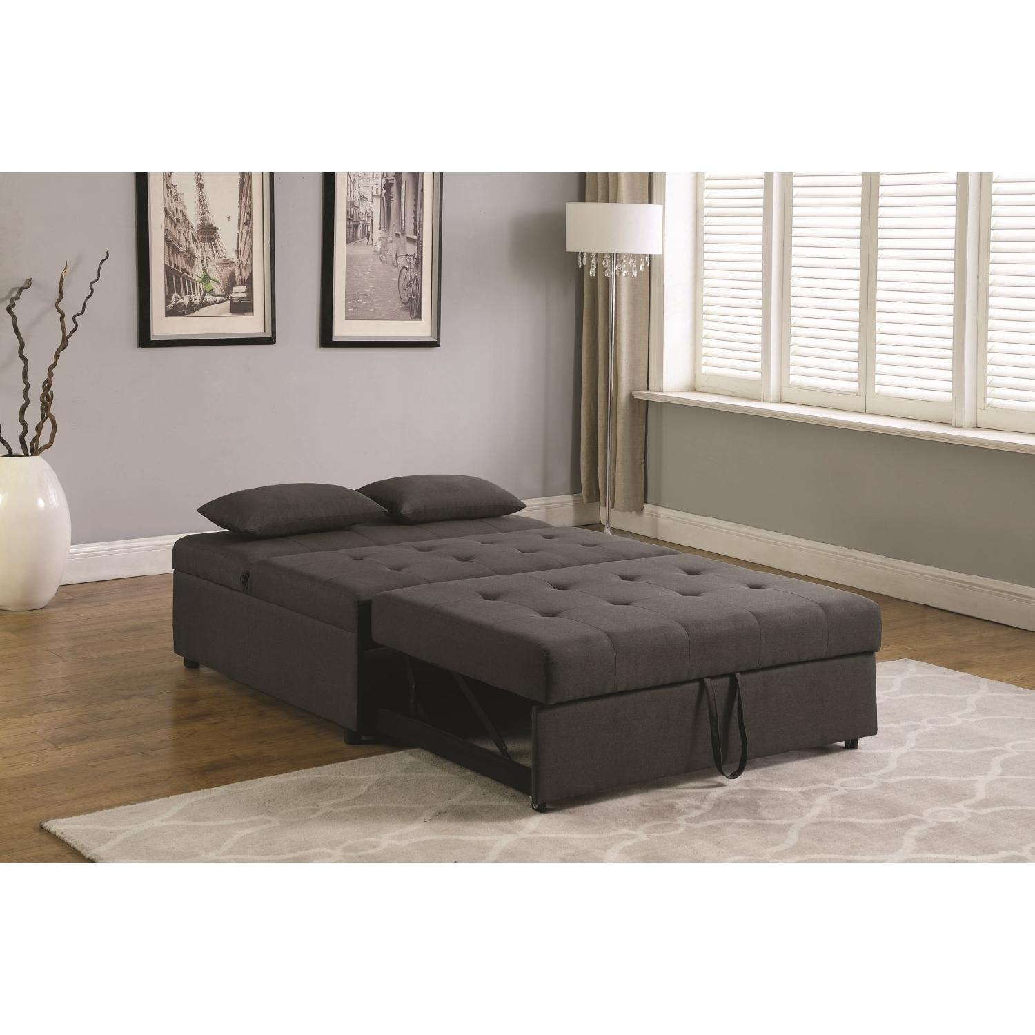Sofabed in Grey Linen-Like Fabric w/ Pull-Out Sleeper - image-8