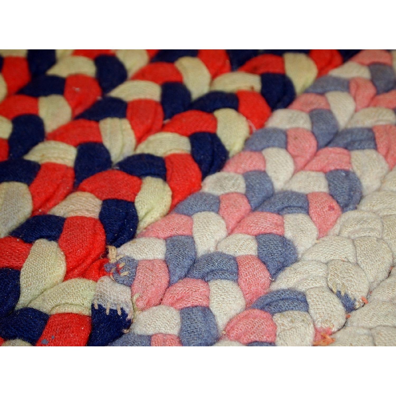 Antique Handmade American Braided Rug - image-3