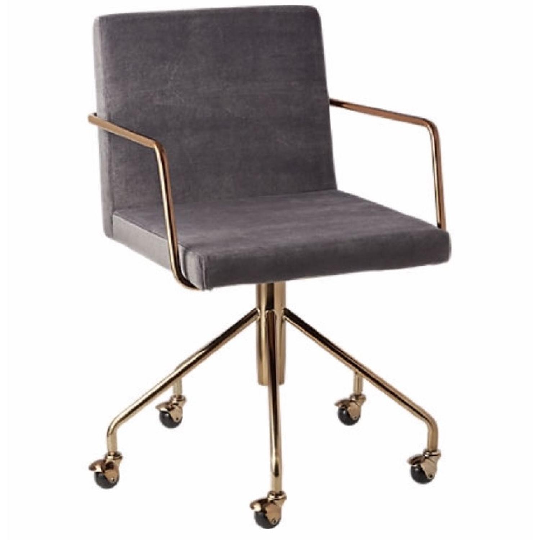 CB2 Rouka Grey Velvet Dining Chair