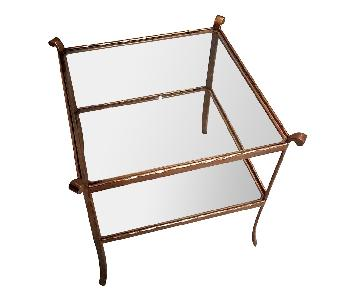 Gold/Glass Two-Tiered Side Table