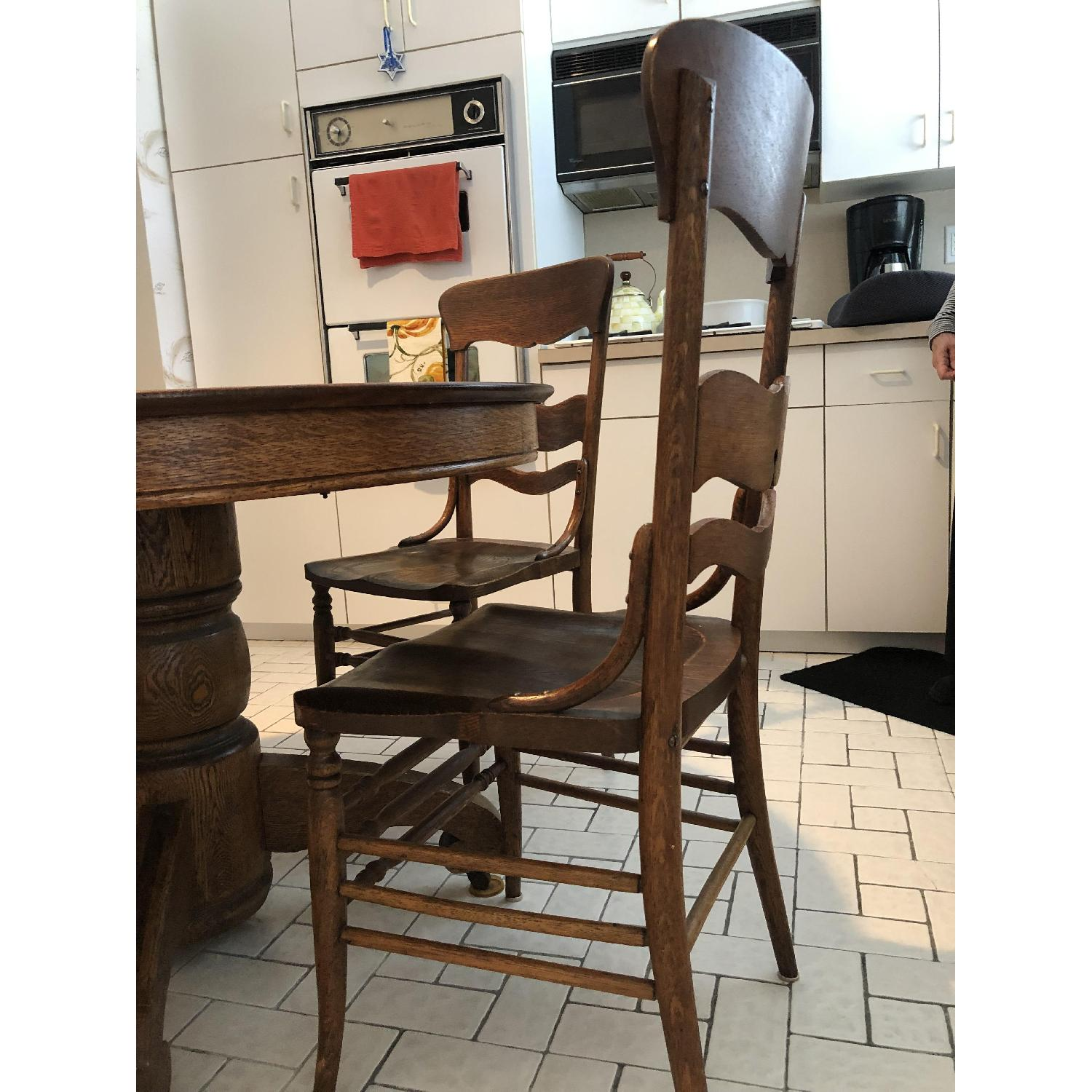 Vintage Round Wood Dining Table w/ 6 Chairs - image-1