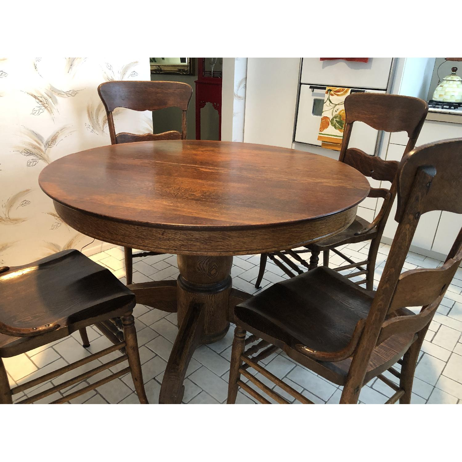 Vintage Round Wood Dining Table w/ 6 Chairs - image-4