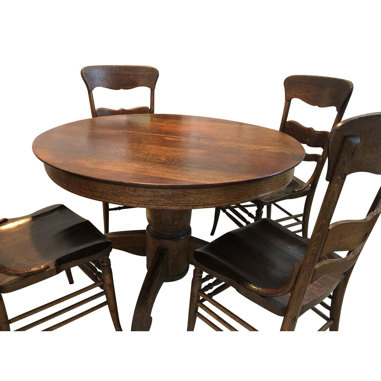 Vintage Round Wood Dining Table w/ 6 Chairs - image-0