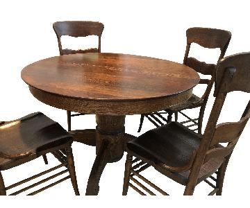 Vintage Round Wood Dining Table w/ 6 Chairs