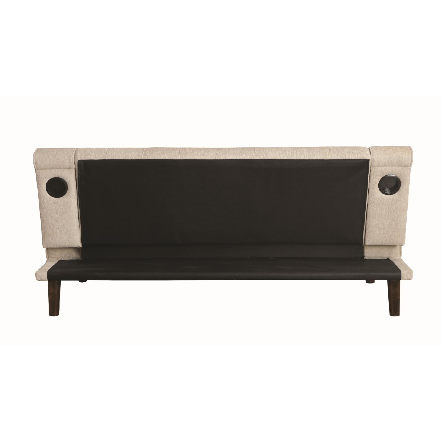 Sofabed w/ Cupholder Armrests in Beige Chenille Fabric - image-4