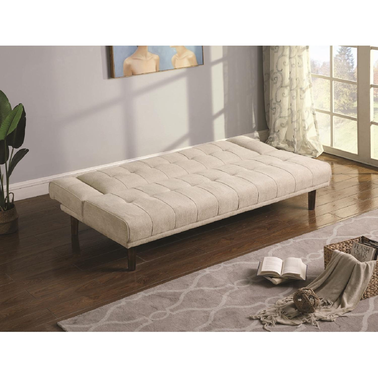 Sofabed w/ Cupholder Armrests in Beige Chenille Fabric - image-5