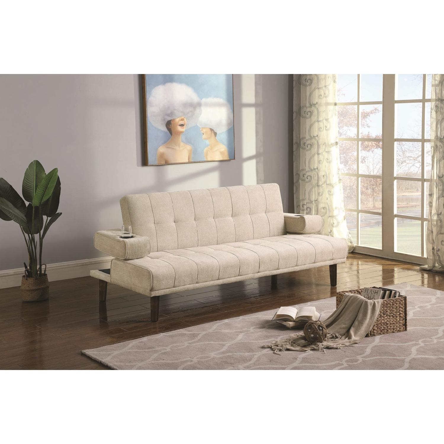 Sofabed w/ Cupholder Armrests in Beige Chenille Fabric - image-6